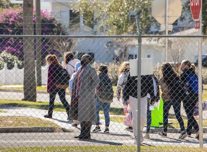 Bok Academy North students walk to class in Lake Wales.