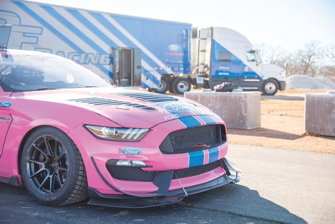 One of the cars on the PF Racing team sits on the Ozarks International Raceway track before a test run.