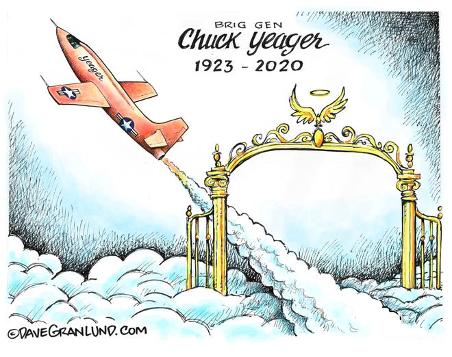 Dave Granlund cartoon on Chuck Yeager's passing