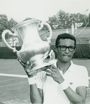 Arthur Ashe, shown in 1968, is part of a new digital exhibit from the International Tennis Hall of Fame that explores Black tennis history.