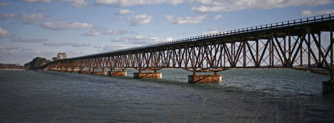 The Long Island Bridge, which connects Long Island in Boston Harbor to the Squantum neighborhood of Quincy, in 2015. Greg Derr/ The Patriot Ledger