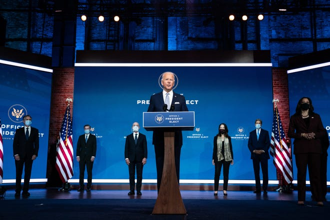 President-elect Joe Biden speaks at an event to introduce his nominations and appointments to foreign policy and national security positions, at The Queen theater in Wilmington, Del., last month. [Anna Moneymaker/The New York Times]