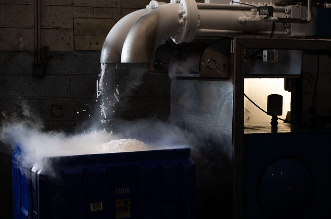 Dry ice pellets can be used to maintain the ultra-cold temperatures required for Pfizer/BioNTech's COVID-19 vaccine.