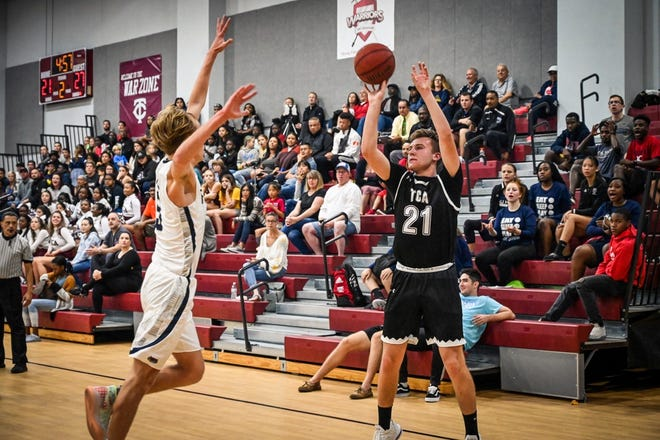 Trinity Christian Academy senior forward Tristan Gee, shown during a game last season, had a school-record 61 points in a win against Glades Day on Dec. 5.