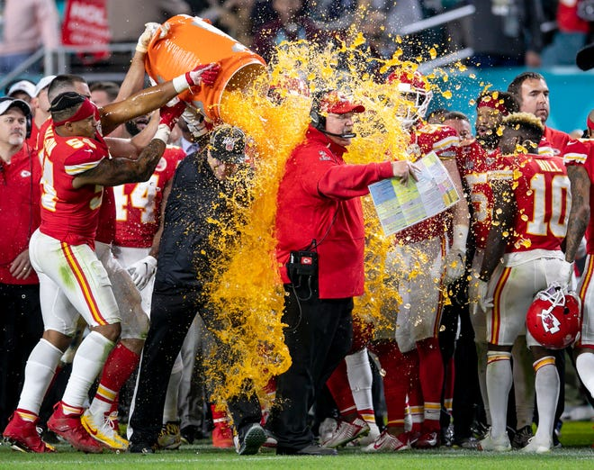 Chiefs coach Andy Reid gets a Gatorade bath in the closing seconds of Super Bowl LIV at Hard Rock Stadium in Feburary.