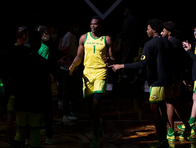 Oregon's N'Faly Dante is introduced as part of the starting lineup before the game against Florida A&M last week.