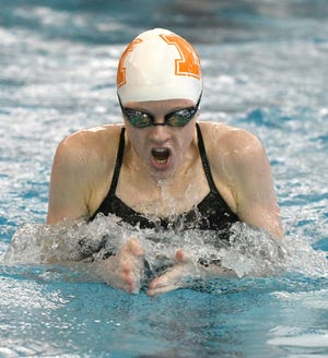 Marlington's Claire Cox swims the breaststroke leg of the Dukes' 200 medley relay at the Division II Sectional Swim Meet in Akron, Feb. 7, 2020. (CantonRep.com / Ray Stewart)