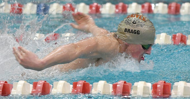 Hoover sophomore TJ Bragg swam 2:04.55 to win the 200 IM in a dual meet with Jackson, Jan. 25, 2020.  (CantonRep.com / Ray Stewart)