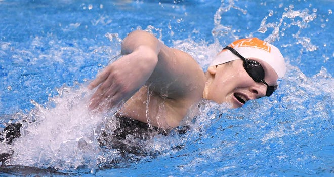 Marlington sophomore Baila Burgara swam  1:57.97 in the 200 free at the Northeast Division II District Swim Meet,  Feb. 14, 2020. (CantonRep.com / Ray Stewart)