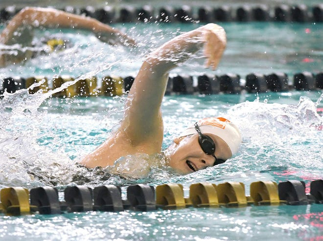 Marlington's Baila Bugara — competing in the 2020 Division II sectional meet — qualified for the 2021 state meet in four events. (Canton Repository file photo)