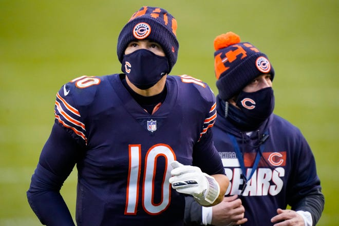 Chicago Bears quarterback Mitchell Trubisky (10) walks off the field following a 34-30 loss to the Detroit Lions Sunday in Chicago.