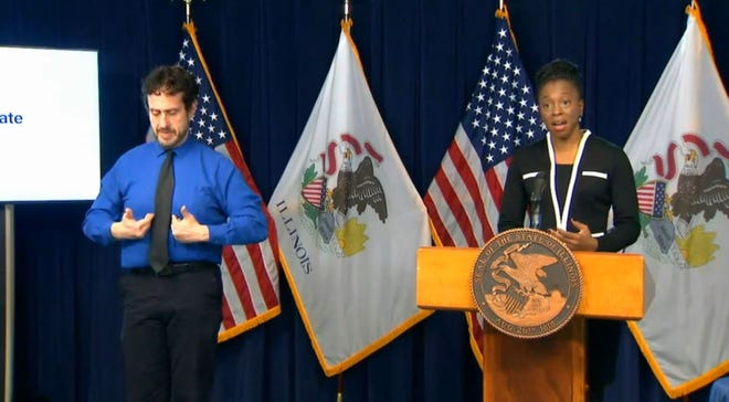 Illinois Department of Public Health Director Dr. Ngozi Ezike urges Illinoisans to limit their holiday gatherings to one household and avoid large gatherings during the continued COVID-19 pandemic. She spoke during Gov. JB Pritzker's daily COVID-19 update Thursday in Chicago.