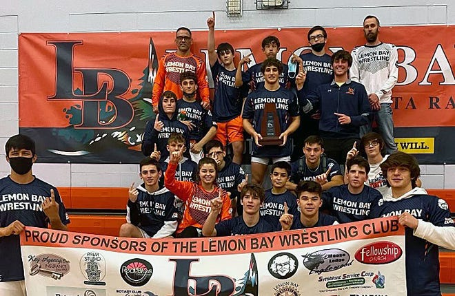 The Lemon Bay High wrestling team won the Class 1A-District 12 dual title by winning three matches Wednesday in Englewood.