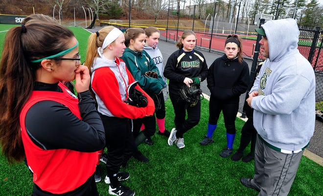Junior varsity coach Craig Soares, who talks to players in a practice from years past, is taking over the varsity head coaching duties for GNB Voc-Tech softball.