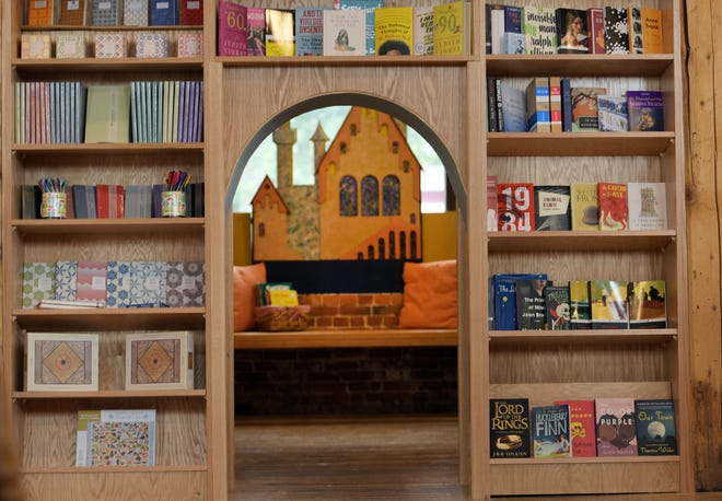 A small doorway leads to the children's section at TidePool Bookshop at 372 Chandler St.