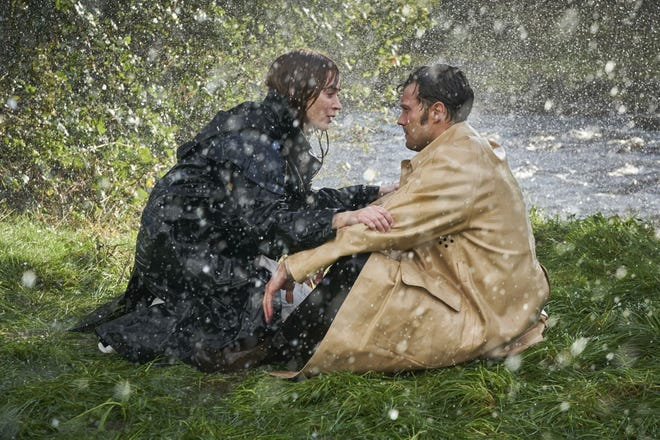 """This image released by Bleecker Street shows Jamie Dornan, right, and Emily Blunt in a scene from """"Wild Mountain Thyme."""""""