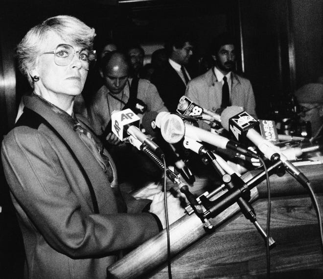 Geraldine Ferraro, the 1984 Democratic vice presidential candidate, appears at a news conference in New York on Dec. 11, 1985 where she announced she will not run for the U.S. Senate seat held by Republican Sen. Alfonse D'Amato.