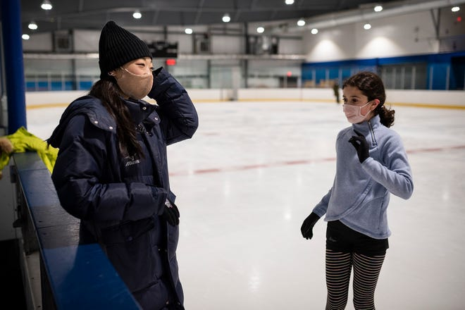 U.S. Olympic figure skater Mirai Nagasu cheers on 11-year-old Ava Svirskiy, a young skater she's been coaching at Northstar Ice Sports in Westboro where she has recently been coaching while recovering from a hip surgery.