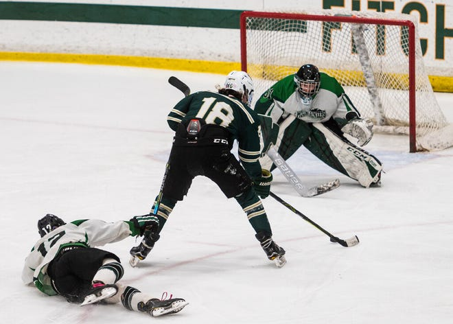 Nashoba's Ryan Maki takes a shot during the Central Mass. Division 3 final against Wachusett at the Wallace Civic Center last year.