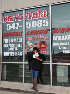 Rhonda Sposato gave away a dozen doughnuts at Donut Oven one doughnut at a time to help drive business at the Pueblo West shop (Courtesy)