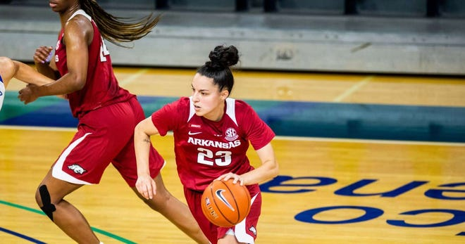 Arkansas redshirt senior guard Amber Ramirez (23) led the way Wednesday for Head Coach Mike Neighbors' Hogs, tallying 18 points on SMU, all of which came by way of the three ball (6-14 3PT).