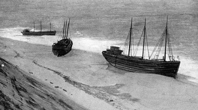 Coal barges were often among the vessels wrecked off Cape Cod's Outer Beach during the early 20th century. All of the men from these three barges stranded near Highland Light in Truro were rescued in 1915. The crews of the Pine Forest, Treverton, and Corbin weren't so fortunate on Jan. 10, 1911, when 17 men perished off Peaked Hill Bars.