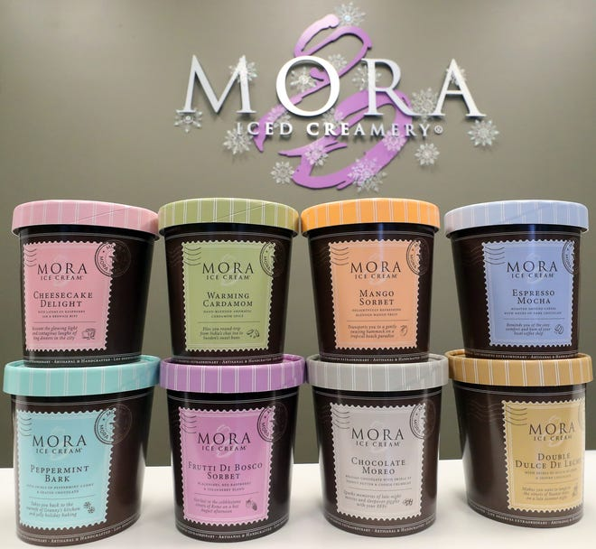 Pints from Mora Ice Cream's Taste-Travel Collection sit on a counter at their corporate headquarters in Poulsbo on Dec. 9.