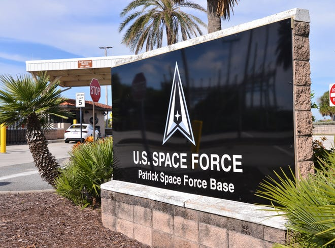 New signs at the South Gate of U.S. Space Force Patrick Space Force Base, formerly Patrick Air Force Base.