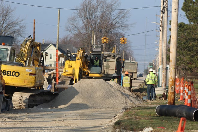 Work continued Wednesday on Oak Harbor's $9.1 million Church Street improvement project. The village hopes to complete the project by June 2021.
