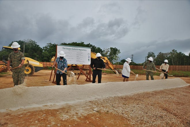 Officials break ground for the Guam Cultural Repository, next to the University of Guam, on Dec. 9, 2020.