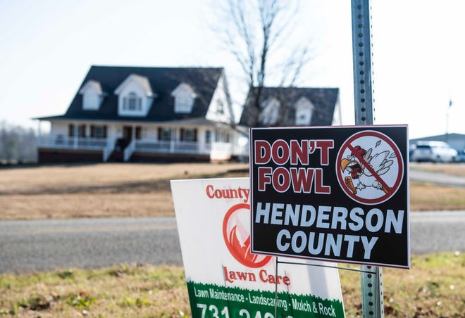 "Residents in Henderson and Madison counties have organized against Tyson Foods chicken barns in their local communities. The groups have created signs saying ""No to Tyson"" or ""Don't Fowl Henderson County."" Huron Tenn., Tuesday, Dec. 8, 2020."