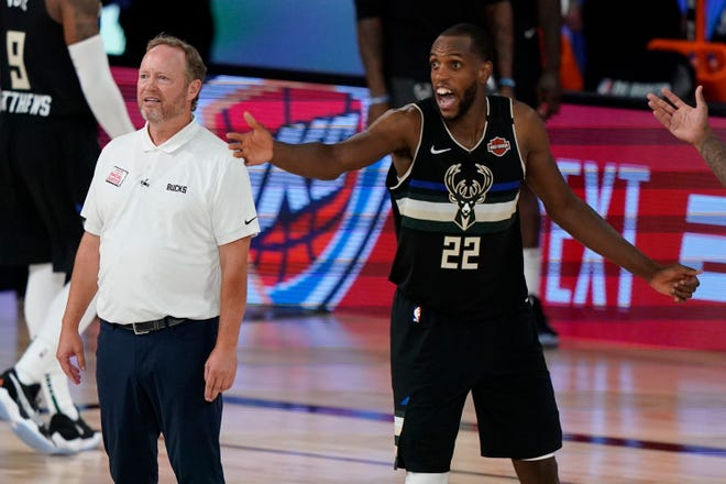 Bucks coach Mike Budenholzer has looked to Khris Middleton and Giannis Antetokounmpo to be more vocal during camp.