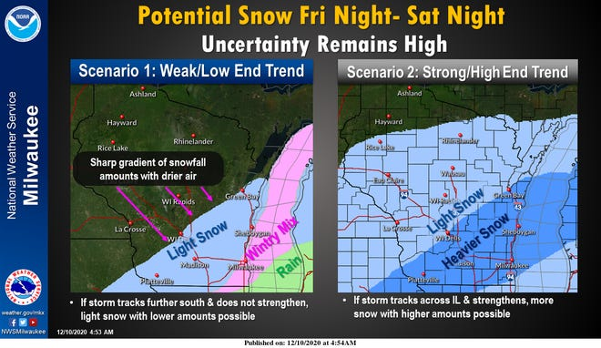 Forecasters are watching a strong storm system that is set to move through much of Wisconsin over the weekend, but exactly what the storm will bring in terms of snow remains a big question.