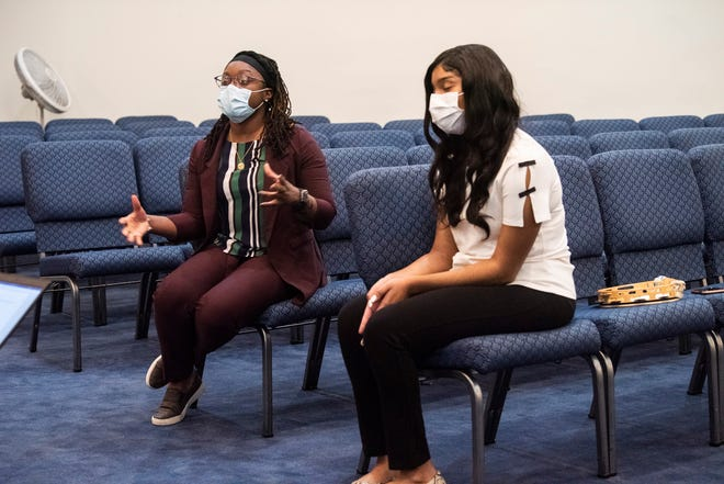 Teacher Crystal Russell and student Makayla McDonald of Destiny Driven Debate during an interview in Montgomery, Ala., on Wednesday, Dec. 9, 2020.