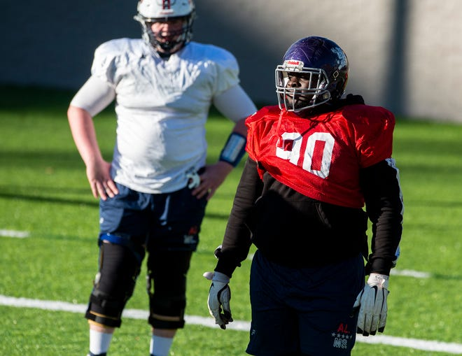 Blount High School defensive lineman Lee Hunter during the Alabama All-Star team practice at Cramton Bowl in Montgomery, Ala., on Wednesday, Dec. 9, 2020. Hunter signed with Auburn on Wednesday.