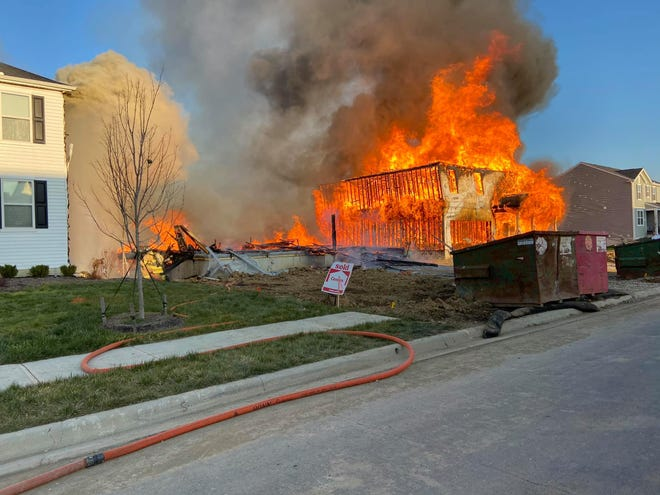 Five homes were impacted by a fire that appears to have begun at a home under construction in Johnstown on Wednesday, Dec. 9, 2020.