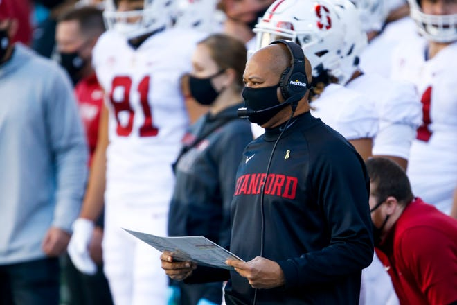 Dec 5, 2020; Seattle, Washington, USA; Stanford Cardinal head coach David Shaw stands on the sidelines during the first quarter against the Washington Huskies at Alaska Airlines Field at Husky Stadium. Mandatory Credit: Joe Nicholson-USA TODAY Sports