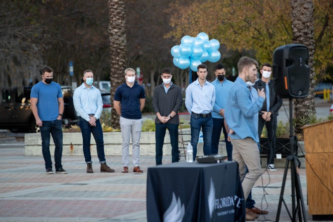 Around 300 friends and family members attend a vigil on Langford Green for Florida State University student Will Proctor who was found unresponsive and later pronounced dead at the Sigma Phi Epsilon fraternity house over the weekend Thursday, Dec. 10, 2020.