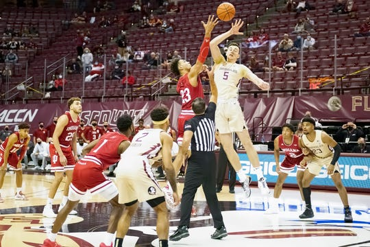 Plexiglass surrounded Florida State's court for Wednesday's game against Indiana.