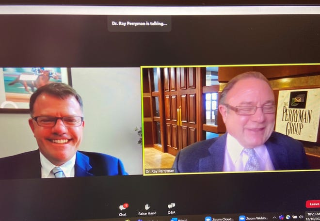 Wichita Falls Chamber of Commerce President/CEO Henry Florsheim, left, introduces Dr. Ray Perryman Thursday during a virtual Economic Forum.