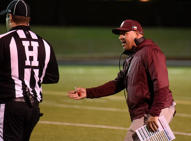 Dripping Springs head coach Galen Zimmerman led the Tigers to a 49-42 win over Georgetown on Saturday.