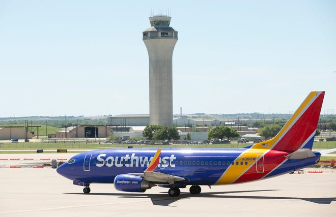 A Southwest Airlines jet sits on the tarmac at Austin-Bergstrom International Airport in 2017.
