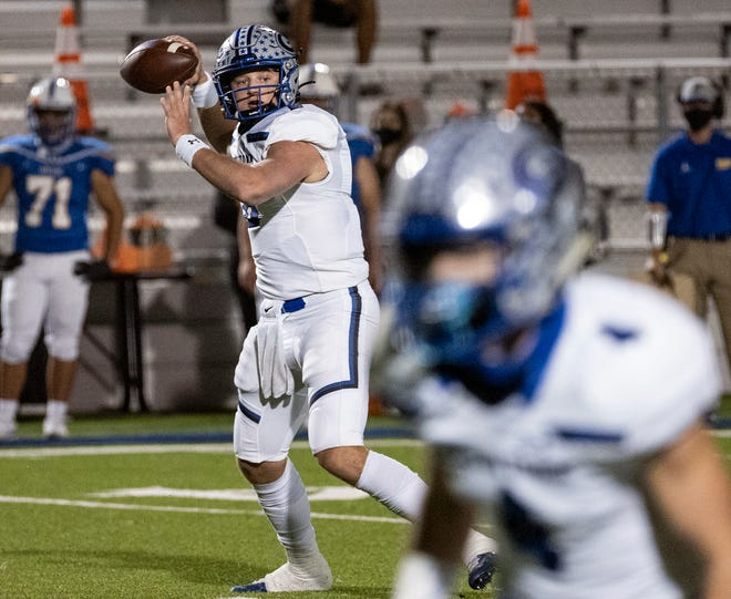 Georgetown quarterback Darson Herman, firing a pass against Pflugerville in a district game last month, has led his team to the bidistrict playoffs.