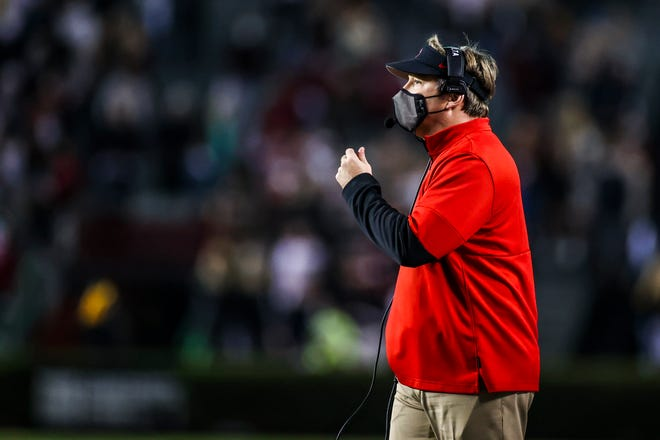 Georgia head coach Kirby Smart during a game against South Carolina at Williams-Brice Stadium in Columbia, SC., on Saturday, Nov. 28, 2020. (Photo by Tony Walsh)