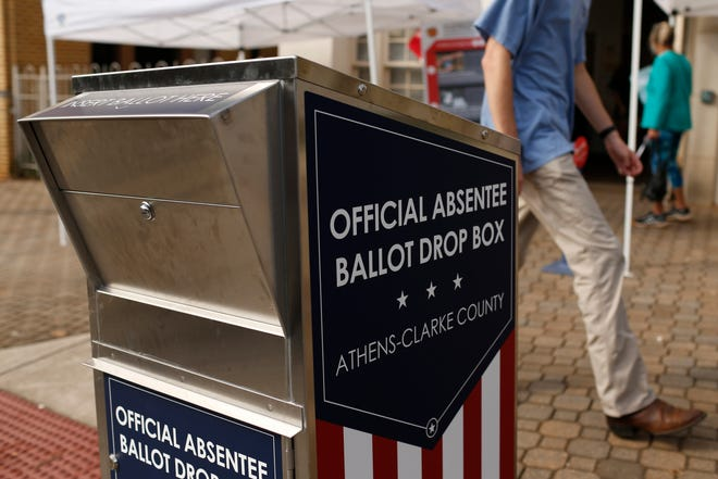 An absentee ballot drop box outside of the Board of Elections office in downtown Athens, Ga., on Wednesday, Oct. 21, 2020. (Photo/Joshua L. Jones, Athens Banner-Herald)