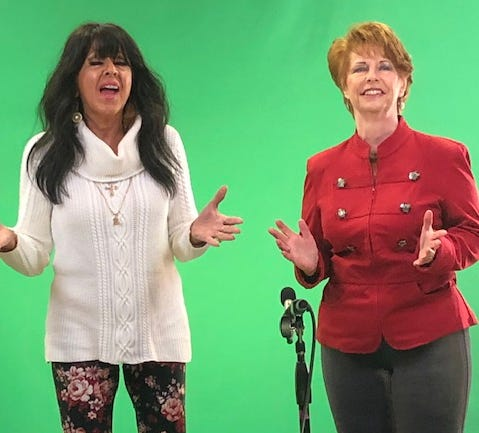 Sue Ann Aiken and Lauranne Ferrara of Ellwood City, members of the Red Barn Players, will sing as part of a virtual Christmas show involving five community theaters.