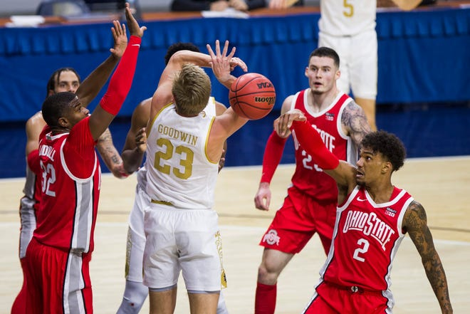 Ohio State's Musa Jallow (2) knocks the ball away from Notre Dame's Dane Goodwin on Tuesday night.