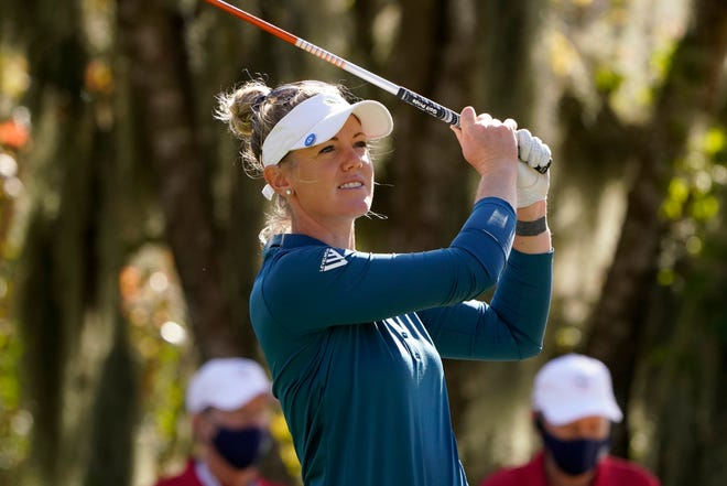 Amy Olson watches her shot during the first round of the U.S. Women's Open golf tournament Thursday in Houston.