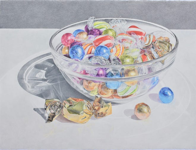 """Glass Bowl with Wrapped Candy"" by Lowell Tolstedt"