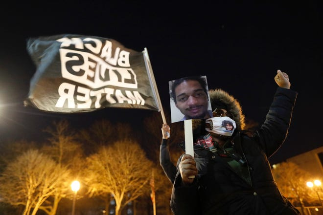 Protesters gathered inDowntown Columbus outside of the Franklin County Sheriff's Office building on Friday, December 11, 2020. They were calling for justice for Casey Goodson Jr.who was fatally shot by sheriff's SWAT deputy Jason Meade on December 4th.